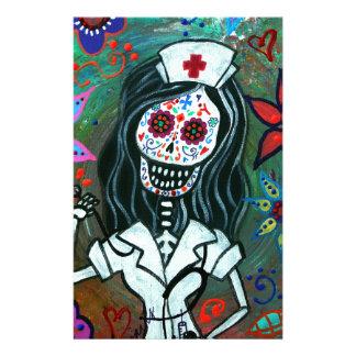 Dia de los Muertos Nurse RN painting Stationery