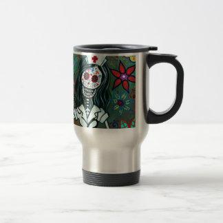 Dia de los Muertos Nurse RN painting Travel Mug