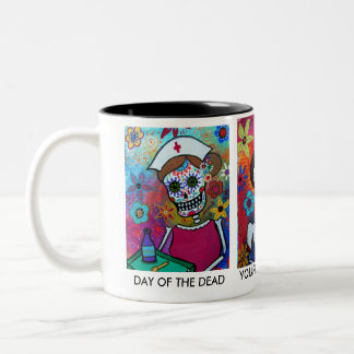 DIA DE LOS MUERTOS NURSE Two-Tone COFFEE MUG