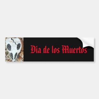 dia de los muertos painted skull bumper sticker