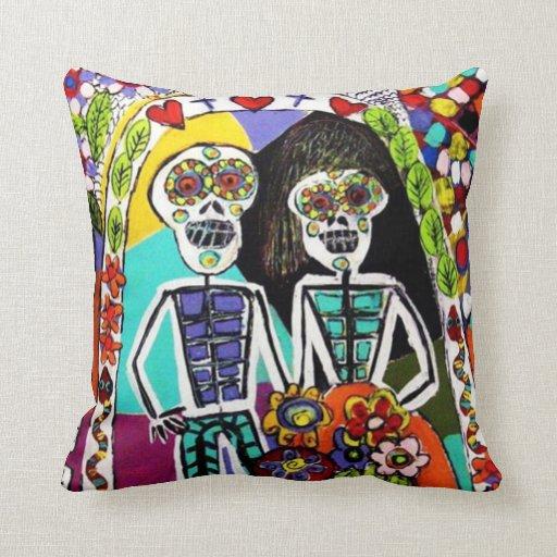 Día de los muertos - par del mexicano de la almoha almohada