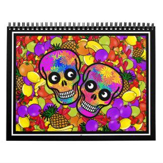 Dia De Los Muertos - par feliz W/Fruit Calendario De Pared