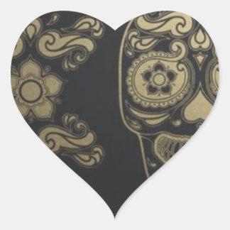 dia de los muertos pegatina en forma de corazón