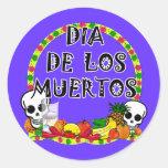 Dia De Los Muertos Pegatinas Redondas