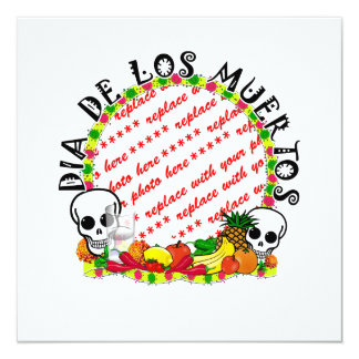DIA DE LOS MUERTOS Photo Frame Template 5.25x5.25 Square Paper Invitation Card
