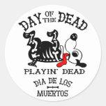dia de los muertos  playin dead dog sticker