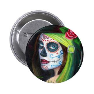 Día de los muertos por Lorri Karels Pin Redondo De 2 Pulgadas