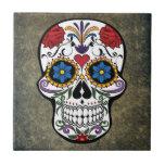 "Dia De Los Muertos Red Roses Sugar Skull Ceramic Tile<br><div class=""desc"">Perfect print for Dia De Los Muertos (Day of the Dead),  pirate celebrations or just for everyday use.</div>"