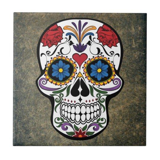 Dia De Los Muertos Red Roses Sugar Skull Ceramic Tile ...