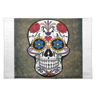 Dia De Los Muertos Red Roses Sugar Skull Cloth Placemat
