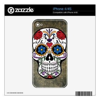 Dia De Los Muertos Red Roses Sugar Skull Decal For The iPhone 4