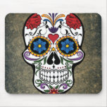 Dia De Los Muertos Red Roses Sugar Skull Mouse Pad