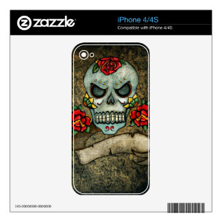 Dia De Los Muertos Rose Sugar Skull Skin For iPhone 4