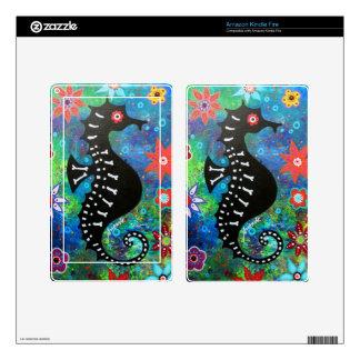 Dia de los Muertos Seahorse Kindle Fire Pegatina Skin