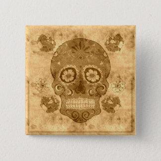 Dia de los muertos -- Sepia Sugar Skull Button