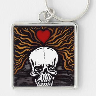 Día de los Muertos Silver-Colored Square Keychain
