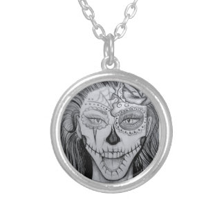 Dia de los Muertos Silver Plated Necklace