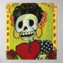dia de los muertos skeleton lady print print