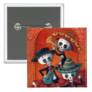 Dia de Los Muertos Skeleton Mariachi Trio 2 Inch Square Button