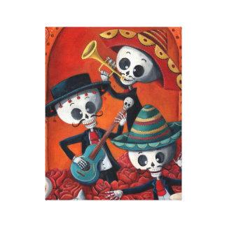 Dia de Los Muertos Skeleton Mariachi Trio Gallery Wrap Canvas