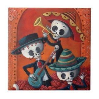 Dia de Los Muertos Skeleton Mariachi Trio Ceramic Tile