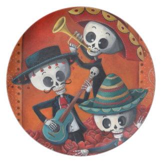 Dia de Los Muertos Skeleton Mariachi Trio Dinner Plate