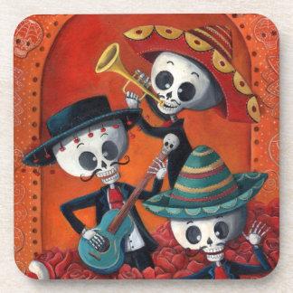 Dia de Los Muertos Skeleton Mariachi Trio Drink Coaster