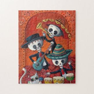 Dia de Los Muertos Skeleton Mariachi Trio Jigsaw Puzzle