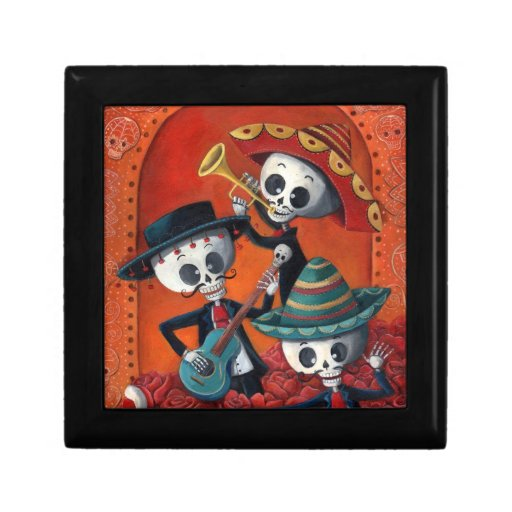 Dia de Los Muertos Skeleton Mariachi Trio Keepsake Box
