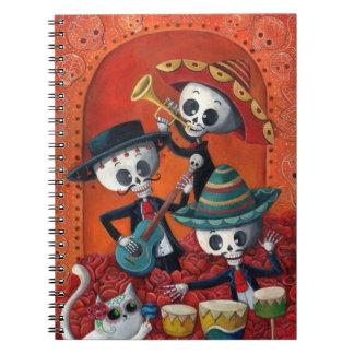 Dia de Los Muertos Skeleton Mariachi Trio Spiral Notebooks