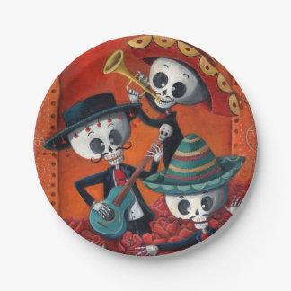 Dia de Los Muertos Skeleton Mariachi Trio Paper Plate