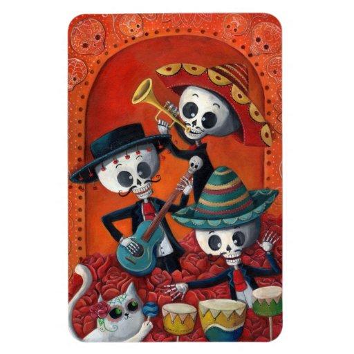 Dia de Los Muertos Skeleton Mariachi Trio Rectangular Photo Magnet