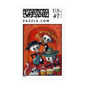 Dia de Los Muertos Skeleton Mariachi Trio Stamp