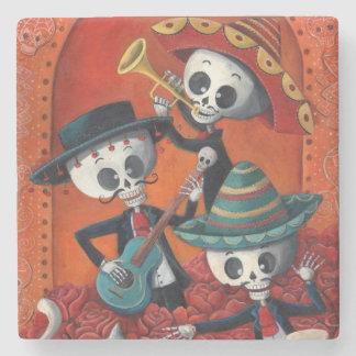 Dia de Los Muertos Skeleton Mariachi Trio Stone Coaster
