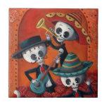 Dia de Los Muertos Skeleton Mariachi Trio Tiles