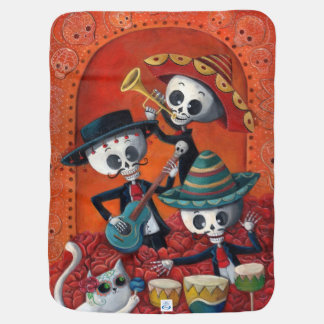Dia de Los Muertos Skeleton Mariachi Trio Receiving Blankets