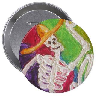 Dia De Los Muertos Skeleton Pin Redondo De 4 Pulgadas