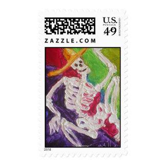 Dia De Los Muertos Skeleton Postage Stamp