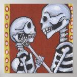Dia de los Muertos Skeletons en la impresión de la Posters