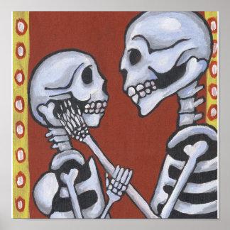 Dia de los Muertos Skeletons en la impresión de la Póster