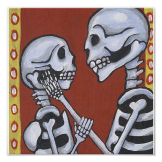 Dia de los Muertos Skeletons in Love Canvas Print