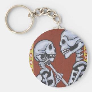 dia de los muertos skeletons in love keychain