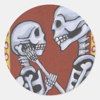 Dia de los muertos skeletons in love sticker
