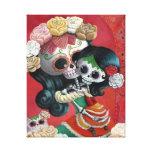 Dia de Los Muertos Skeletons Mother and Daughter Gallery Wrap Canvas