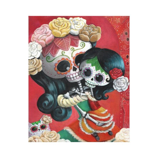 Dia de Los Muertos Skeletons Mother and Daughter Canvas Print