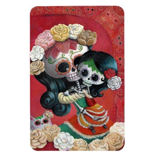 Dia de Los Muertos Skeletons Mother and Daughter Magnet