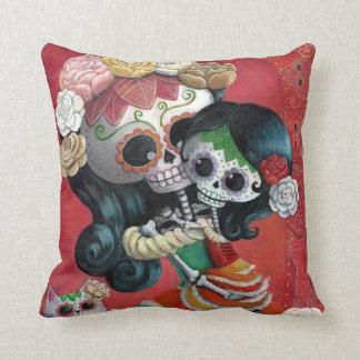 Dia de Los Muertos Skeletons Mother and Daughter Throw Pillows