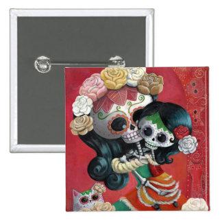 Dia de Los Muertos Skeletons Mother and Daughter Pinback Button