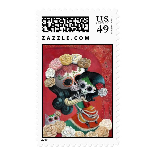 Dia de Los Muertos Skeletons Mother and Daughter Postage