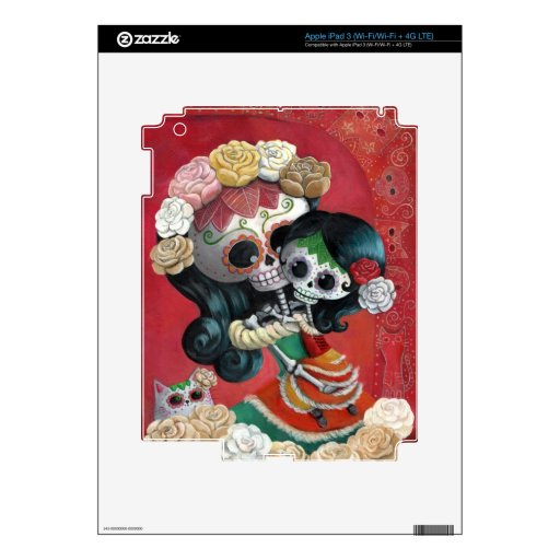 Dia de Los Muertos Skeletons Mother and Daughter Decal For iPad 3